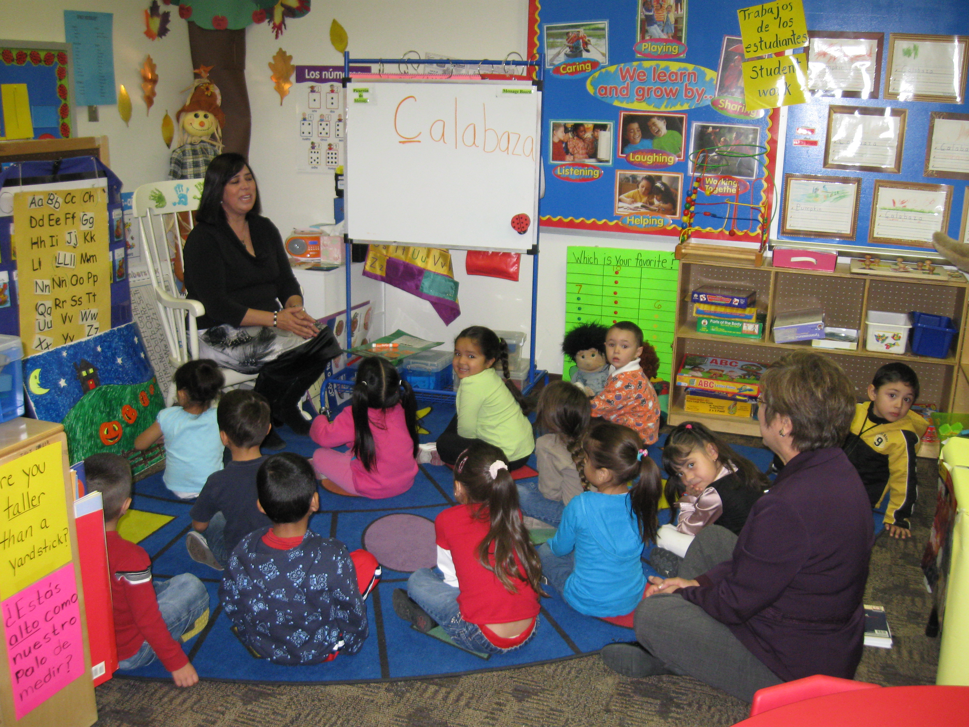 Students in a classroom at Dolores Gonzales